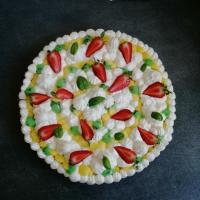 Tarte fantastik citron, basilic, crème chantilly/mascarpone et fraises
