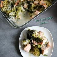 Gratin de brocoli au saumon et parmesan