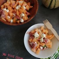Salade de melon, fêta et jambon cru